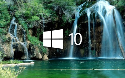 Windows 10 over the waterfall simple logo wallpaper