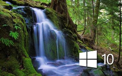 Windows 10 over the waterfall white logo wallpaper
