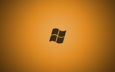 Windows 7 logo on golden background wallpaper