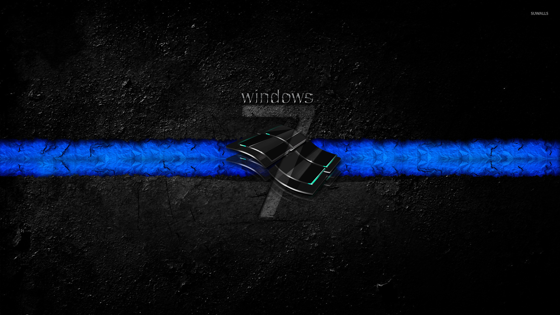 Windows 7 Logo On The Gray Wall Wallpaper Computer Wallpapers