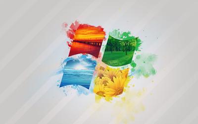 Windows logo with sceneries wallpaper