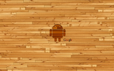 Wooden Android and Google wallpaper
