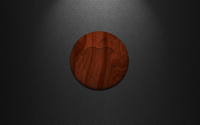 Wooden Apple on dotted pattern wallpaper