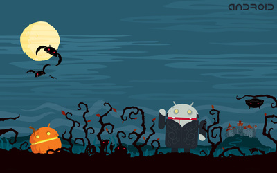 Zombie Android on Halloween wallpaper