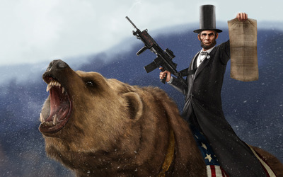 Abraham Lincoln Riding a grizzly holding an M-16 wallpaper