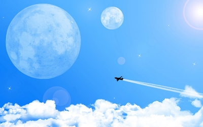 Airplane flying towards the moon wallpaper