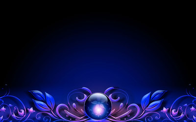 Amazing flower inside the blue orb wallpaper