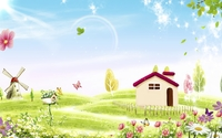 Amazing spring nature by the small house wallpaper 2560x1440 jpg