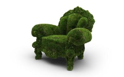 Armchair made from grass wallpaper
