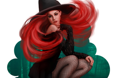 Beautiful redhead in a witch costume wallpaper
