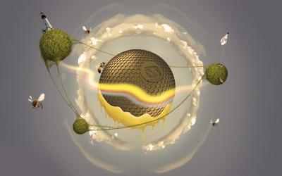Bee hive planet wallpaper