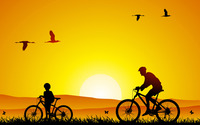 Bike trip at sunset wallpaper 1920x1200 jpg