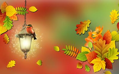 Bird on a lamp wallpaper