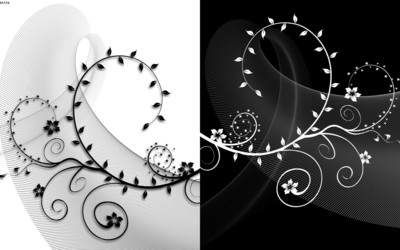 Black and white swirling plants wallpaper