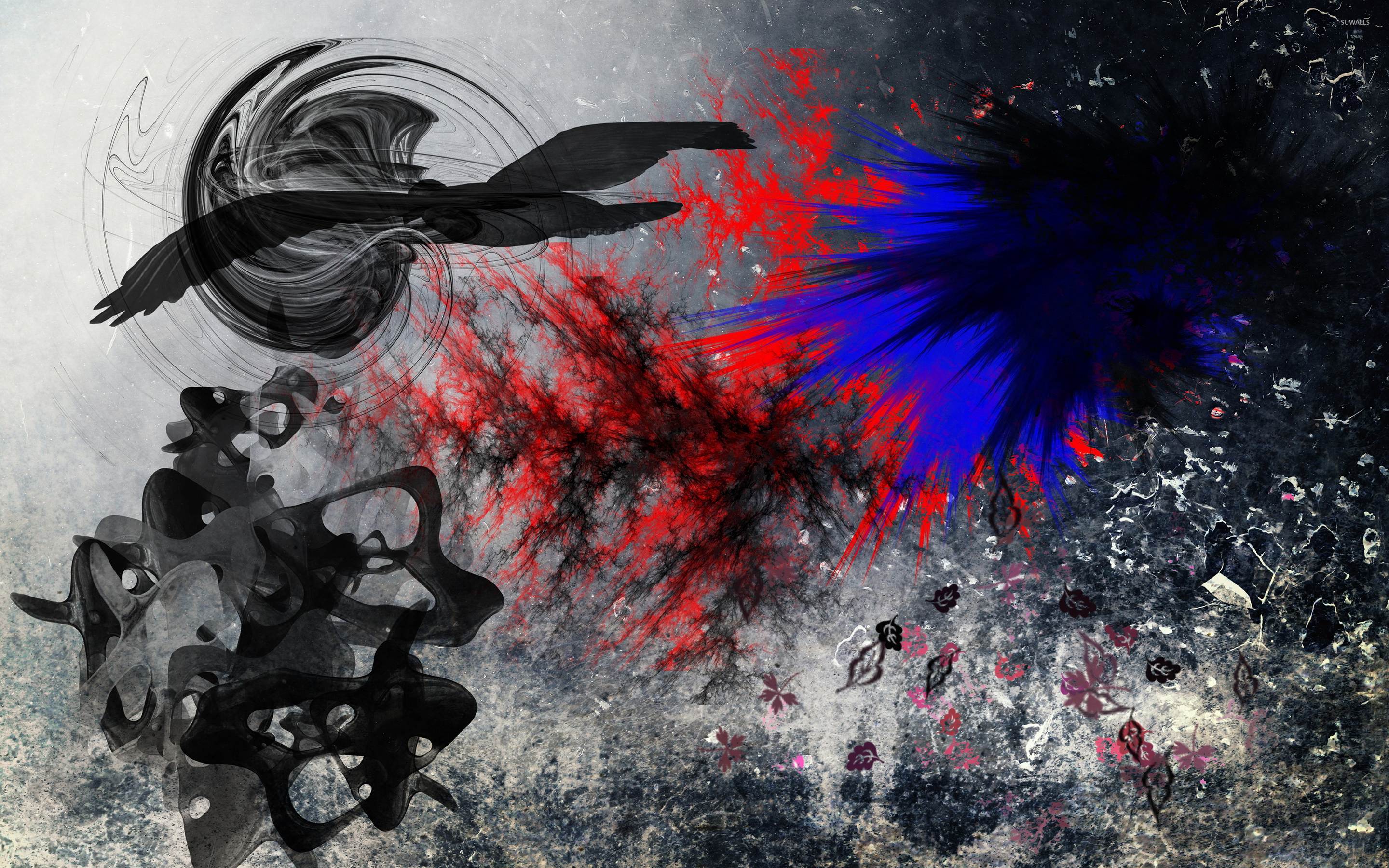 black bird flying above the mixed colorful smoke wallpaper - digital