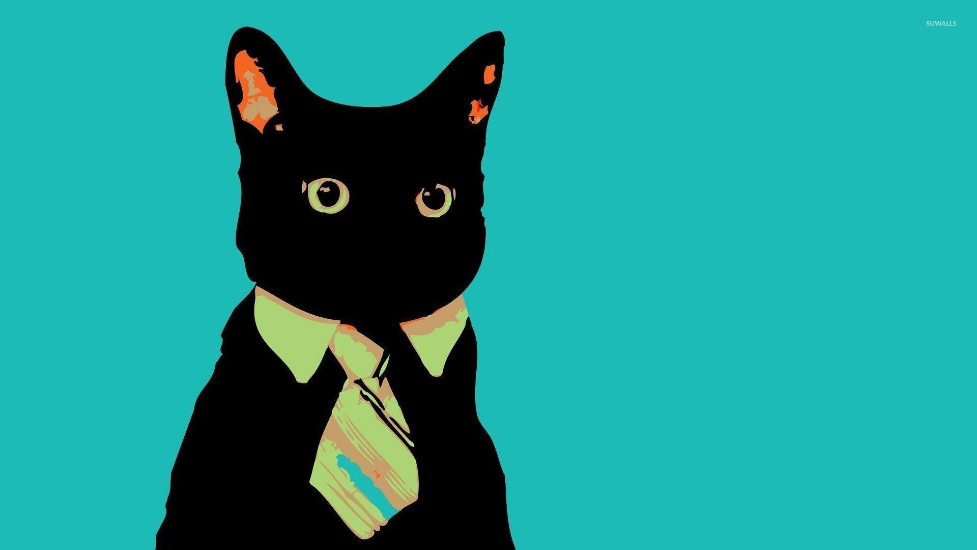 Black Cat With A Tie Wallpaper Digital Art Wallpapers