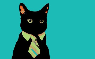 Black cat with a tie wallpaper