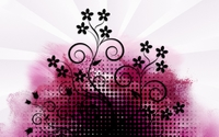 Black dots and flowers on pink paint splash wallpaper 1920x1080 jpg