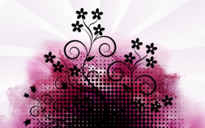 Black dots and flowers on pink paint splash wallpaper