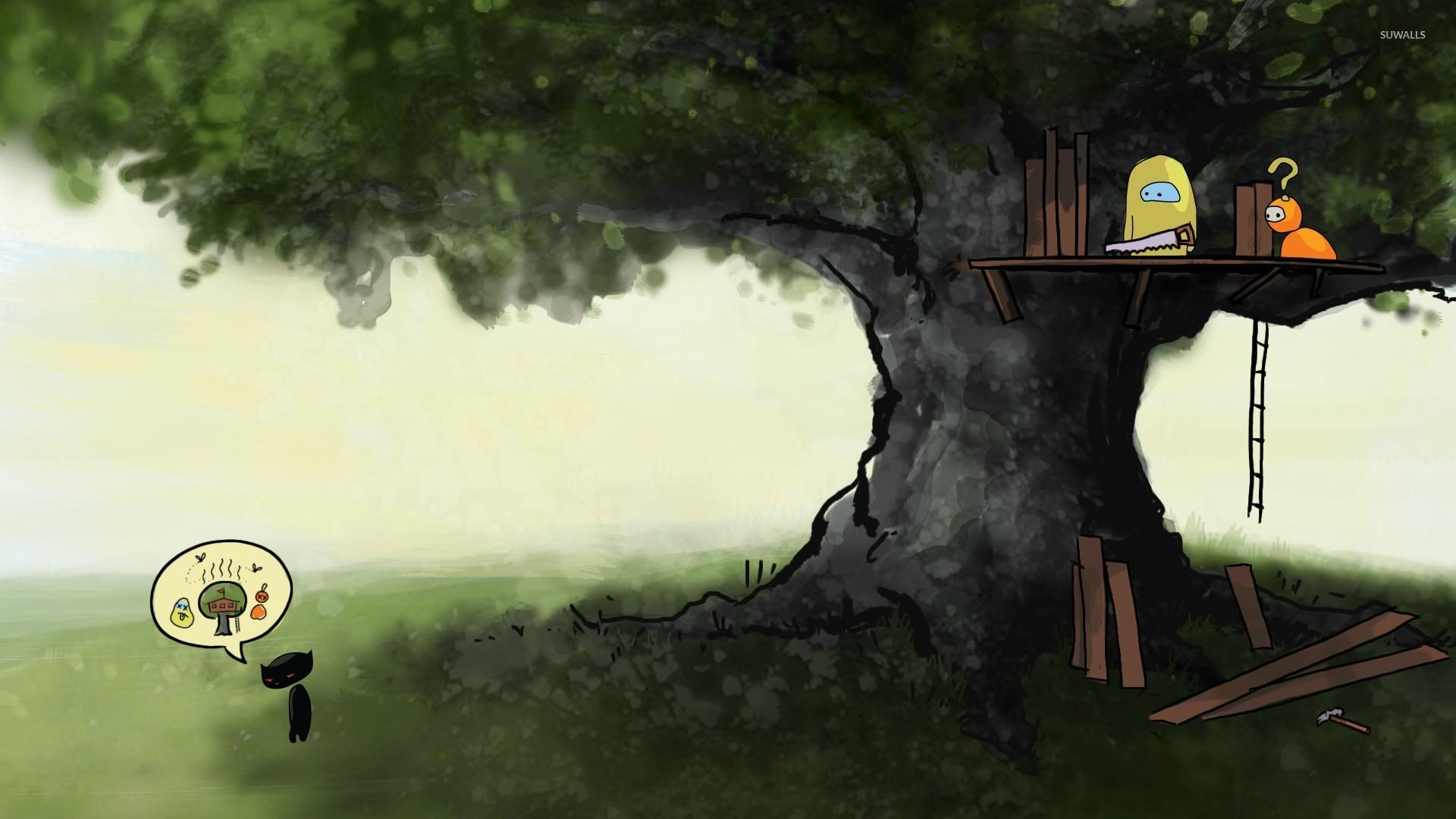 Black Kitten Dreaming Of A Tree House Wallpaper Digital