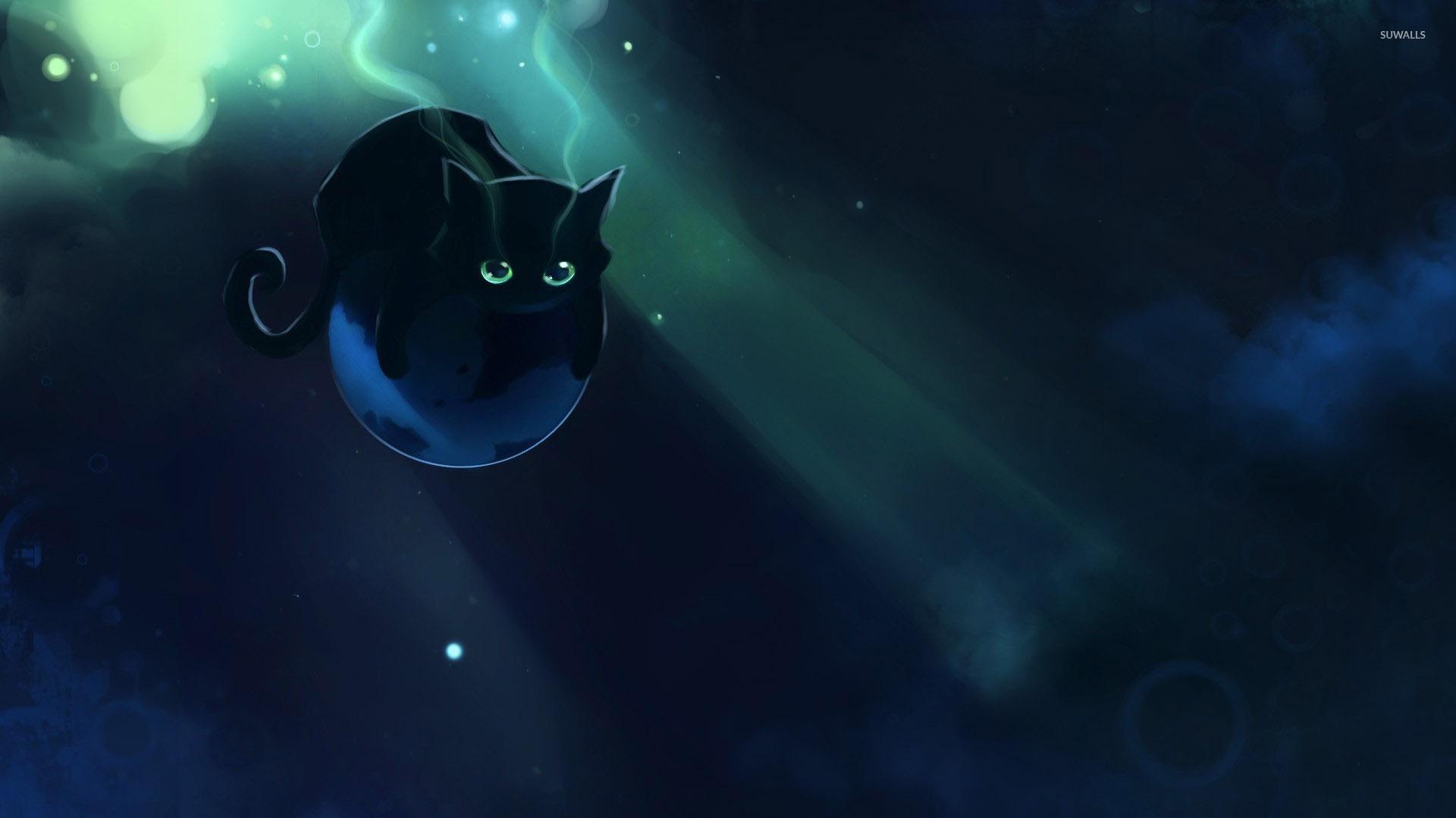 Most Inspiring Wallpaper Halloween Kitten - black-kitten-floating-on-a-planet-49617-1920x1080  Snapshot_866480.jpg