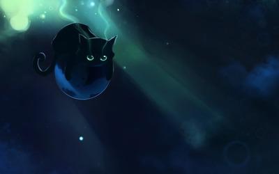Black kitten floating on a planet wallpaper