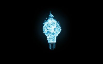 Blue flaming light bulb wallpaper