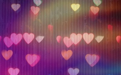 Blurry hearts on cartboard wallpaper
