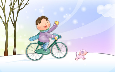 Boy riding bicycle wallpaper