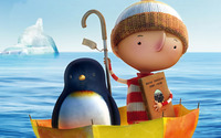 Boy with penguin sailing in an umbrella wallpaper 1920x1200 jpg