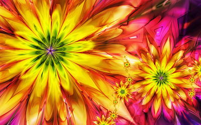 Bright fractal daisies wallpaper