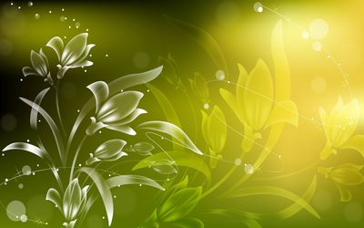 Bright plant on the green wall Wallpaper