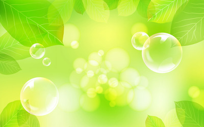 Bubbles and green leaves wallpaper