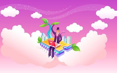 Businessman on flying city wallpaper