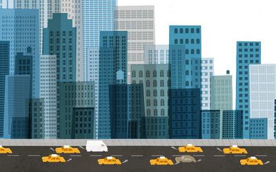 Busy city street wallpaper