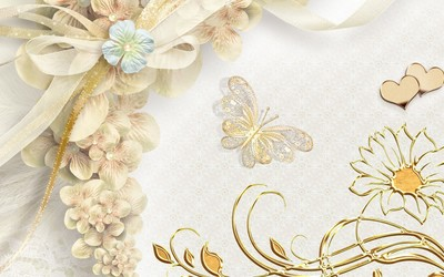 Butterflies and floral ornaments wallpaper