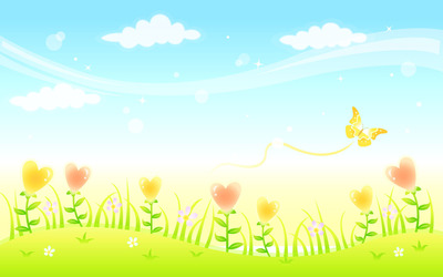 Butterfly in the meadow wallpaper
