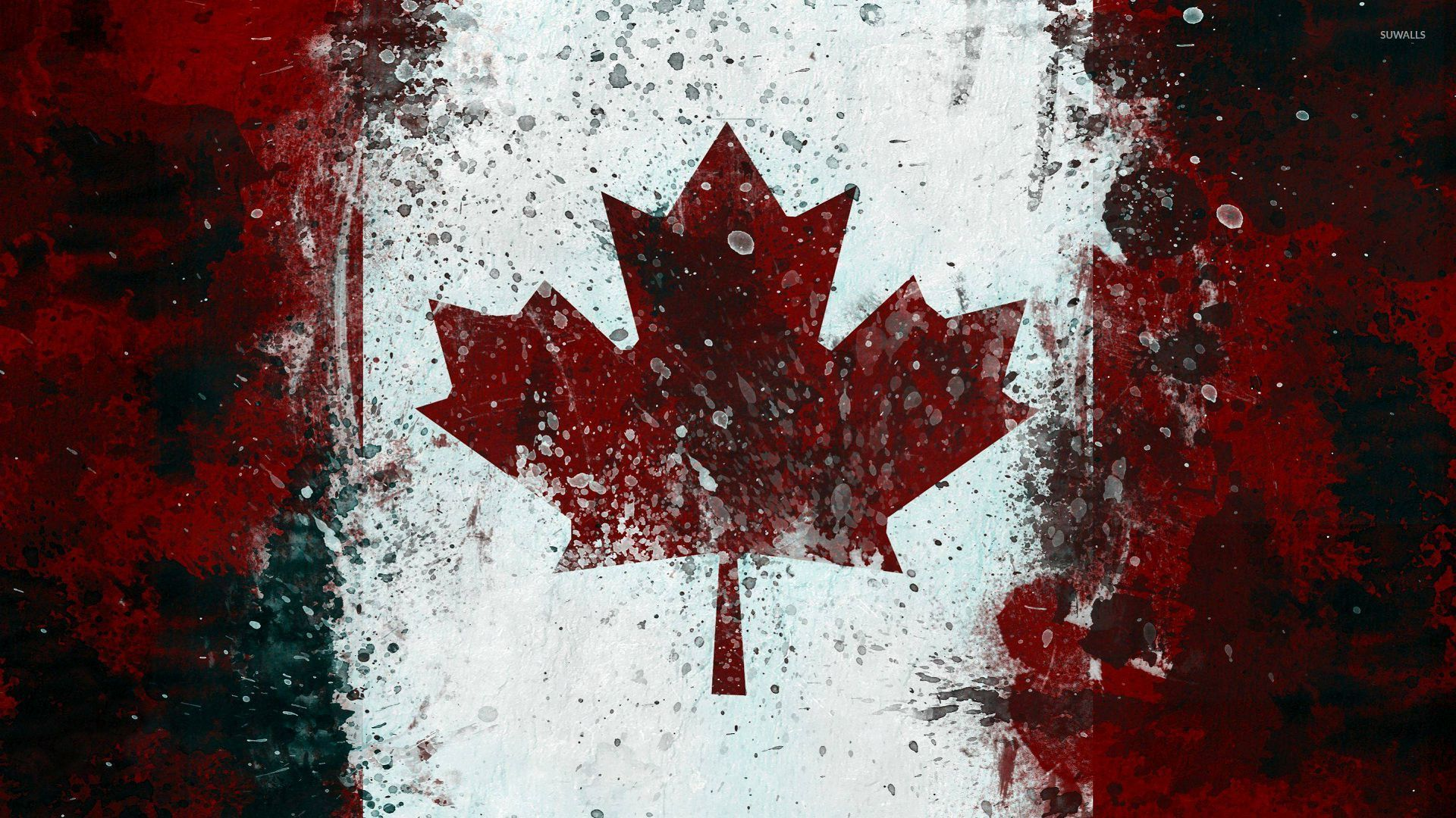 Canadian flag with paint drops wallpaper digital art for Wallpaper canada