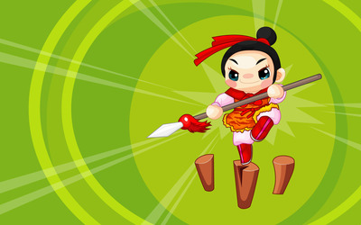 Cartoon ninja girl wallpaper