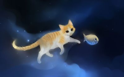 Cat playing with a fish wallpaper