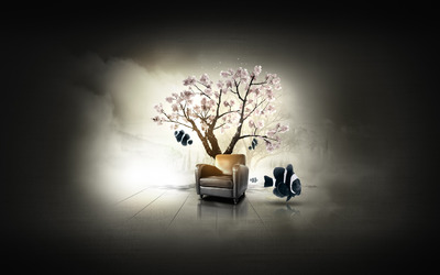 Chair under cherry tree in the sea wallpaper