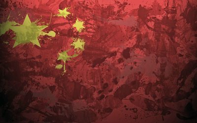 China flag with paint drops Wallpaper