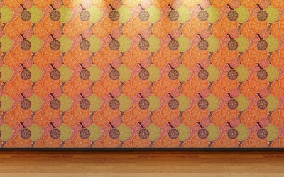 Citrus wall pattern wallpaper