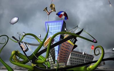 City built on a plant Wallpaper