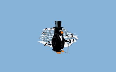 Classy penguin wallpaper