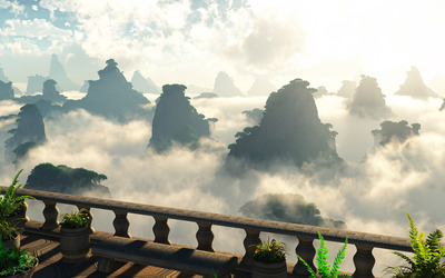 Cliffs hidden in the clouds wallpaper