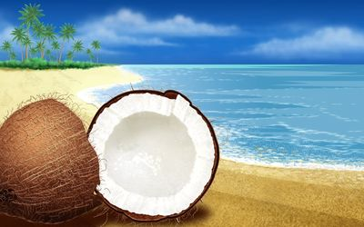 Coconut cut in half on the beach Wallpaper