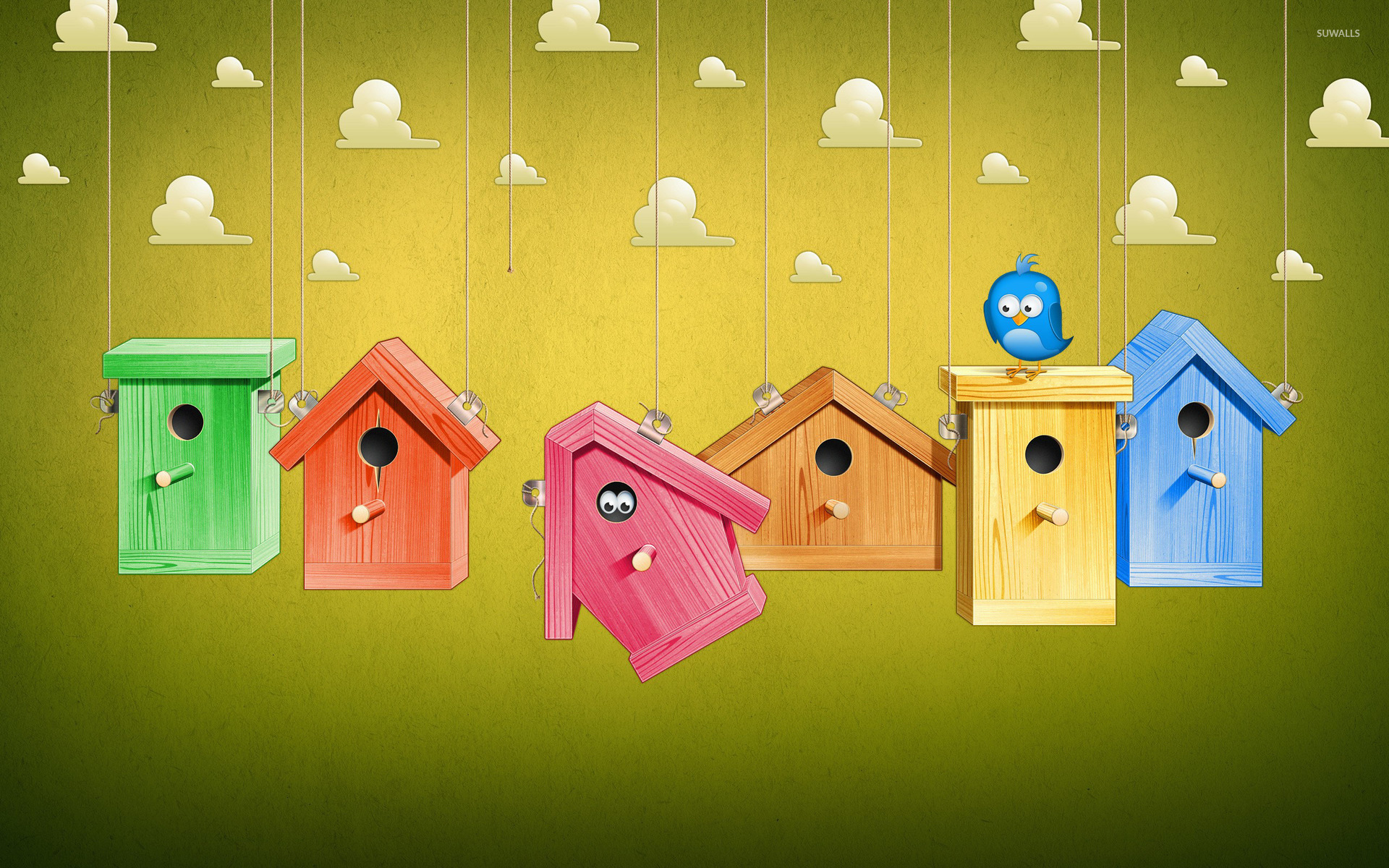 Colorful bird houses wallpaper digital art wallpapers for Wallpaper with houses on