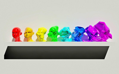 Colorful, deformed mannequin heads wallpaper