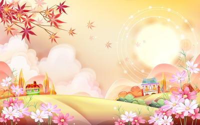 Colorful town wallpaper